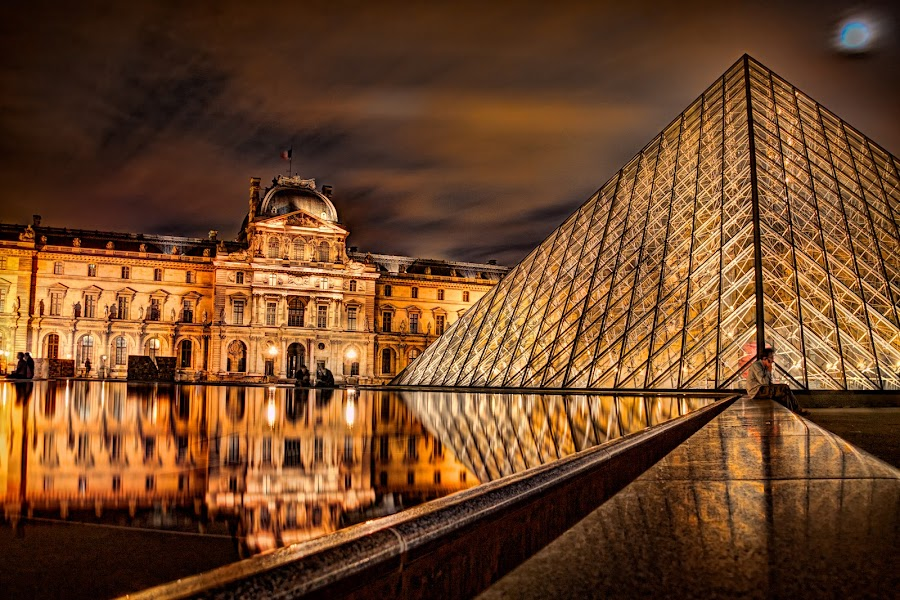 Reflections of the Louvre by Steve Densley - Buildings & Architecture Public & Historical ( paris, louvre, reflection, night photography, hdr, museum, palace,  )