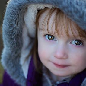 eyes by Melissa Marie Gomersall - Babies & Children Child Portraits ( winter, bright, green, fur, hood, eyes,  )