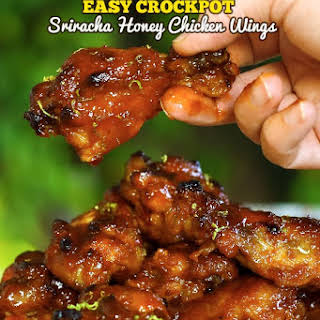 Easy Crockpot Sriracha Honey Chicken Wings.