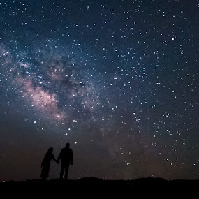 Starry Union by Sam Raja - Landscapes Starscapes ( love, milkyway, milkywayuae, stars, surpriseme, starstruck, breathtaking, shadows )