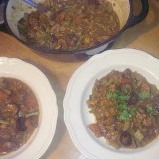 Veggie Sausage and Green Lentil Stew.