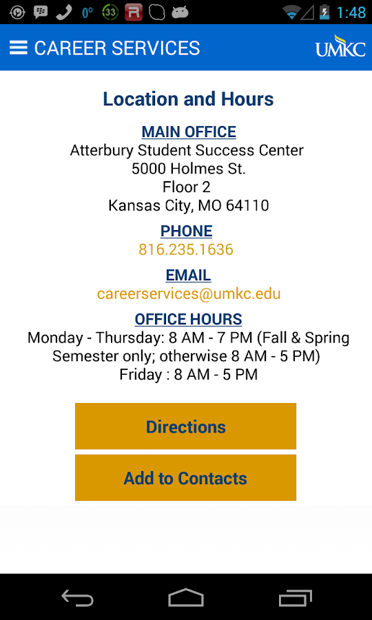 UMKC Career Services- screenshot