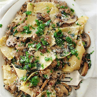 Broken Pasta with Kale, Mushrooms and Sausage.