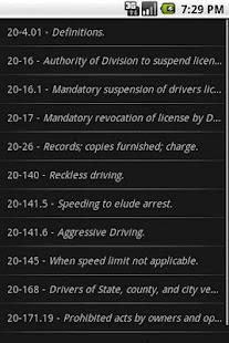 NCLaw Motor Vehicle Chapter 20- screenshot thumbnail