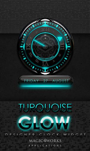 Turquoise Glow Clock Widget