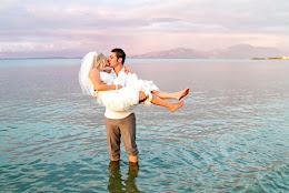 Happy couple after Hilton wedding