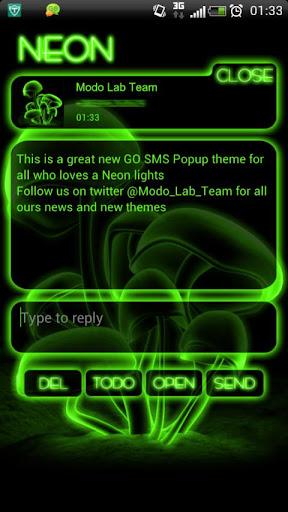 Green Neon GO Popup theme