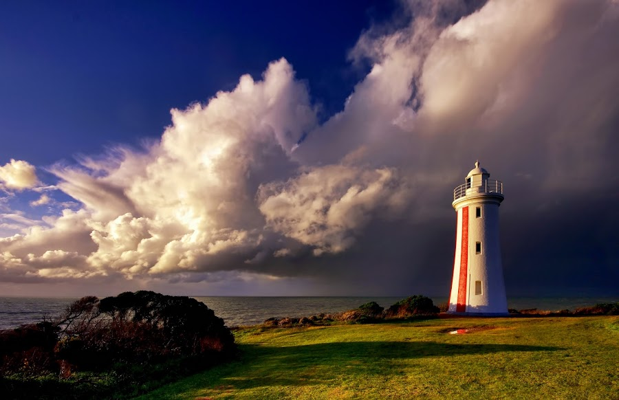 Brewing Storm by Julien Johnston - Landscapes Weather ( clouds, lighthouse, storm, bluff )