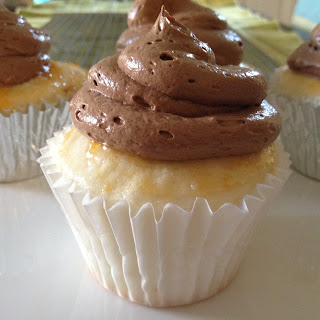 Orange Angel Food Cupcakes With Chocolate Orange Buttercream.