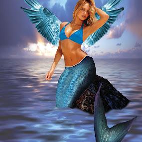 Mermaid Fairy on the rocks by Sharmila Narwani - Illustration Sci Fi & Fantasy ( fantasy, ocean, mermaid, rocks, fairy wings,  )