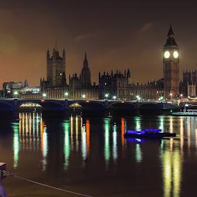 Big Ben  by Nachau Kirwan - City,  Street & Park  Night ( water, night photography, thames, big ben, bridge, river, , Lighting, moods, mood lighting, Urban, City, Lifestyle )