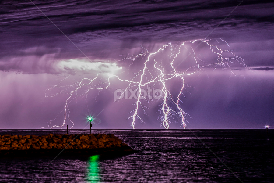 Lightning at the harbour by Craig Eccles - Landscapes Weather ( thunder, lightning strike, lightning, perth, thunderstorm, australia, weather, ocean, storm )