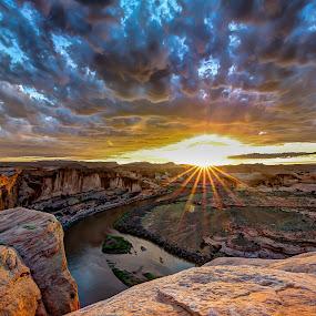 Hell's Revenge Sunset by Ed Mullins - Landscapes Sunsets & Sunrises (  )