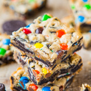 Loaded M&M Oreo Cookie Bars.