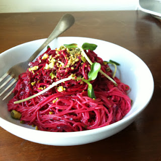 Beet Capellini with Pistachios.