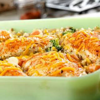 Chicken, Seasoned Rice and Vegetable Casserole.