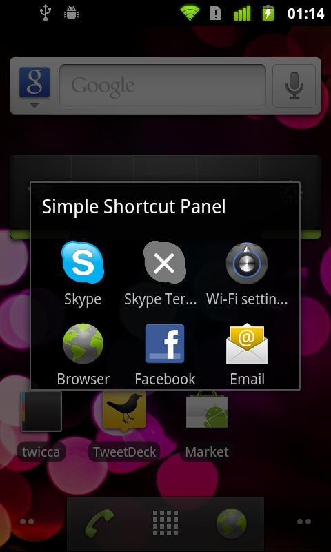 Simple Shortcut Panel Free- screenshot