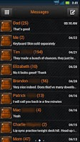 Screenshot of GO SMS Black Orange Theme
