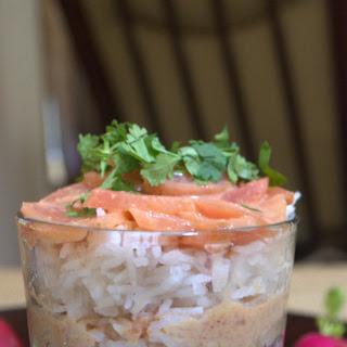Radish, scallions & coconut Sambar.