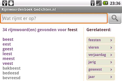 Rijmwoordenboek Gedichten.nl- screenshot thumbnail
