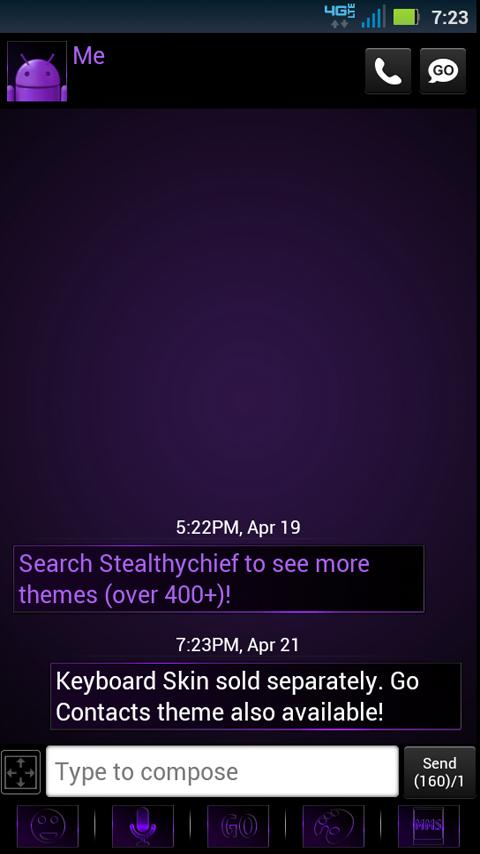 GO SMS Dark Purple Theme - screenshot