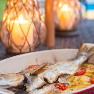 Pesce al forno con patate (Oven Roasted Whole Fish with Potatoes)