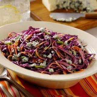 Buttermilk-Blue Cheese Red Cabbage Slaw.