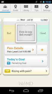 WebMD Pain Coach Screenshot 1