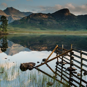Blea Tarn by John Ash - Landscapes Mountains & Hills ( water, fence, reflection, mountain, cumbria, blea tarn, green, lake district )