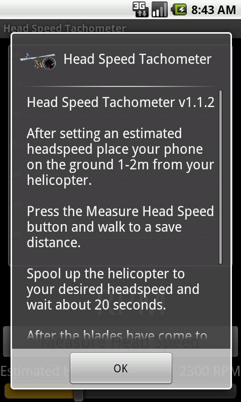 Head Speed Tachometer - screenshot
