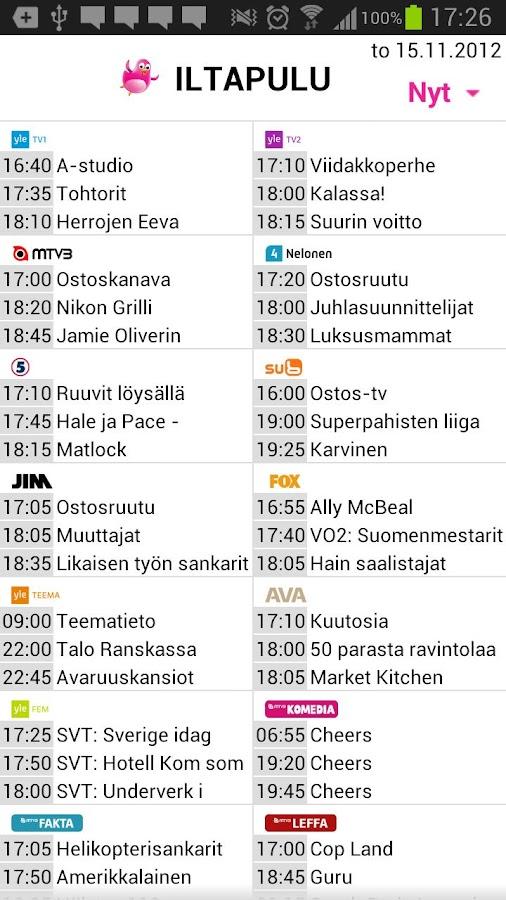 Iltapulu.fi TV-opas- screenshot