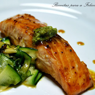 Caramelized Salmon with Honey and Mustard.