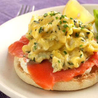 Egg and Smoked Salmon Open-Faced Breakfast Sandwich