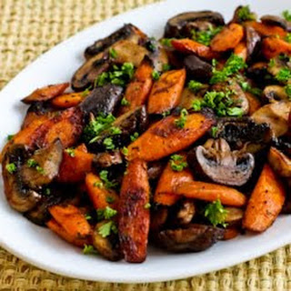 Recipe for Roasted Carrots and Mushrooms with Thyme.