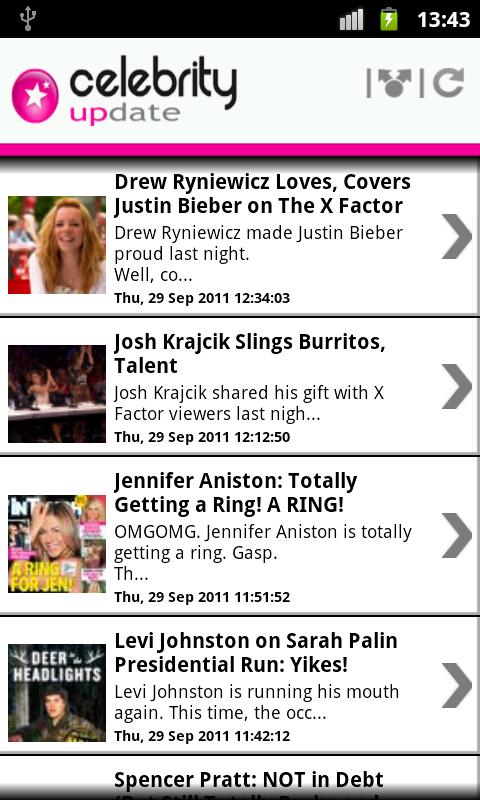 Celebrity Update ™ - screenshot