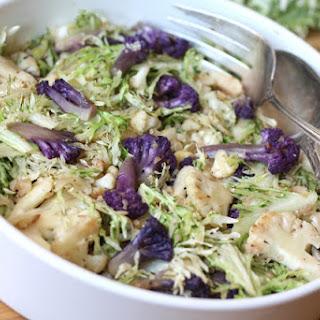 Warm Peacock Kale and Purple Cauliflower Salad