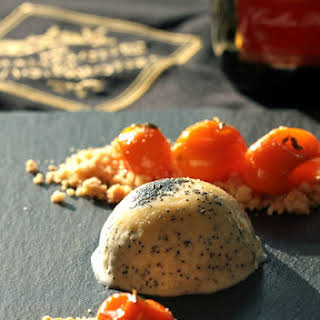 Poppy Seed Parfait, Candied Kumquats in Thyme Syrup, and French Butter Cookies.