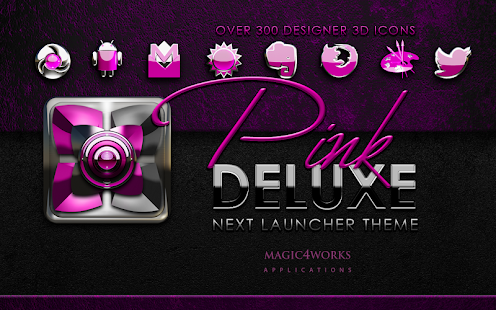 Next Launcher Theme Pink Delux
