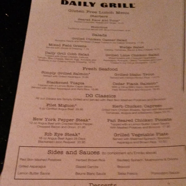 Daily Grill gluten free menu as of 4/23/2014