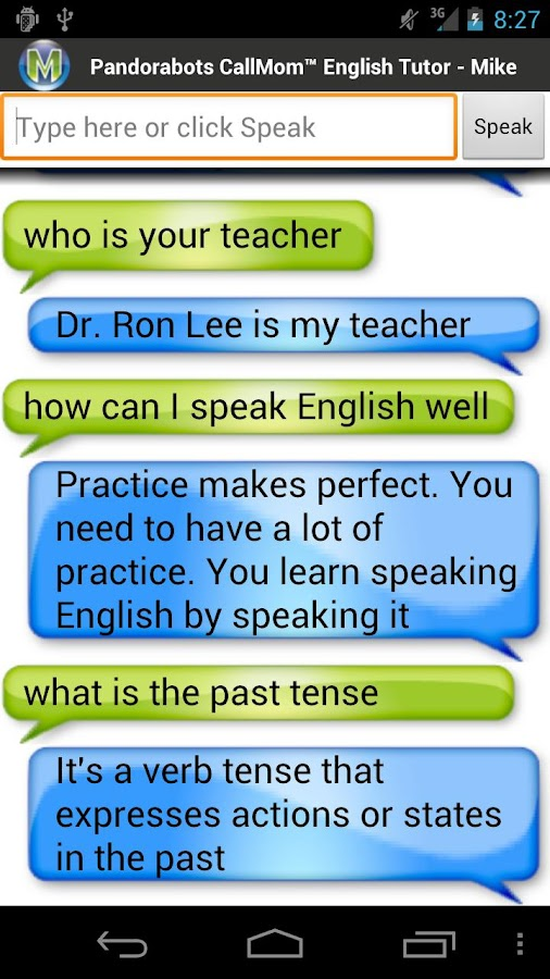 Pandorabots English Tutor- screenshot