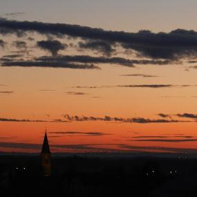 Tender Sunset by Nat Bolfan-Stosic - Landscapes Sunsets & Sunrises ( willage, red, sunset, tender, chuch )