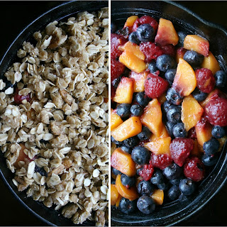 Skillet Summer Berry Crisp with Oatmeal Cookie Topping