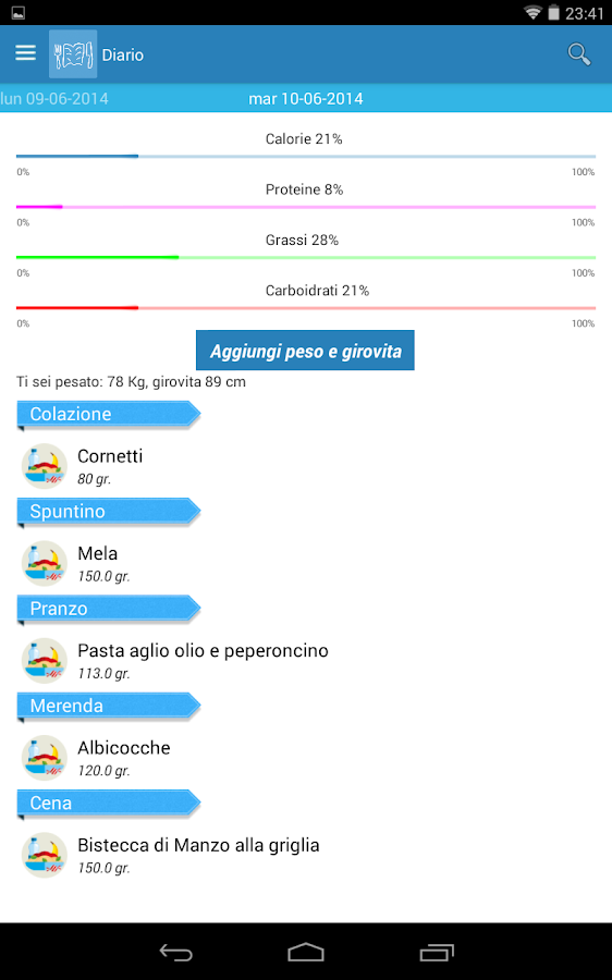Diario Alimentare- screenshot