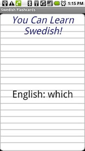 English to Swedish Flashcards- screenshot thumbnail