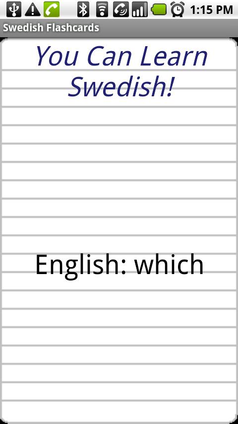 English to Swedish Flashcards - screenshot