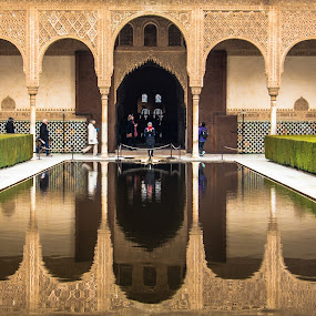 Alhambra Reflection by Franco Beccari - Buildings & Architecture Public & Historical ( reflection, woman, reflections, alhambra, museum, granada )