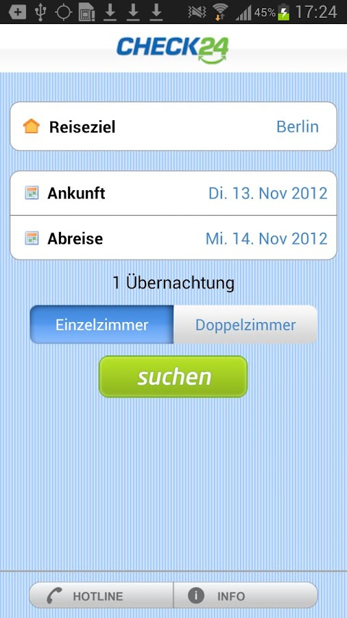 Hotelauskunft - screenshot