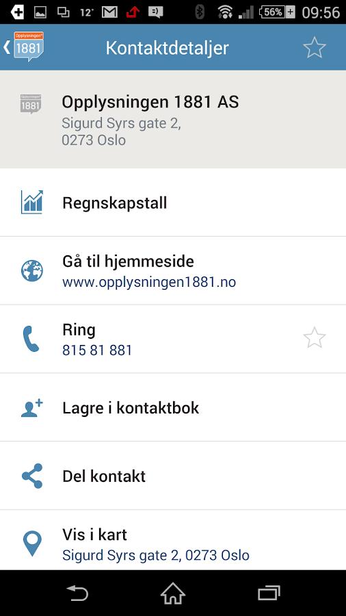 Opplysningen 1881 Mobilsøk - screenshot