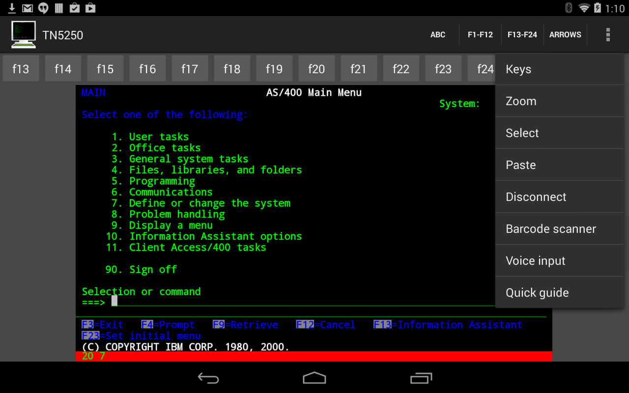 Mocha TN5250 - screenshot