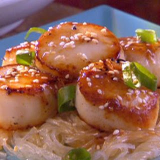 Pan Seared Scallops With Sesame Sauce And Cellophane Noodles.
